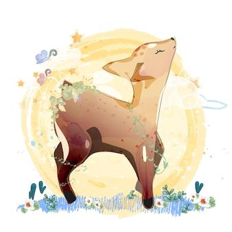 落書き鹿絵画花柄水彩画。