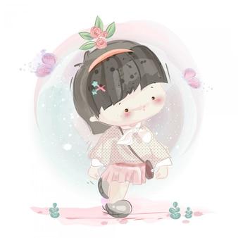 素敵な女の子と男の子のキャラクター水彩風。