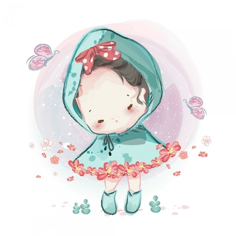 Характер в прекрасной девочке и мальчике акварельный стиль.