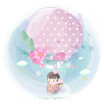 熱気球にかわいい女の子のイラスト