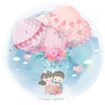 Акварельные дети на воздушном шаре с цветами