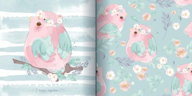 素敵な鳥の水彩画とシームレスなパターン