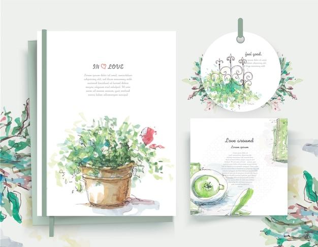 水彩風のビンテージ花グリーティングカード花フレーム。