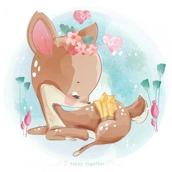 Милый ребенок оленей рисованной в сладком стиле акварели бесшовные.