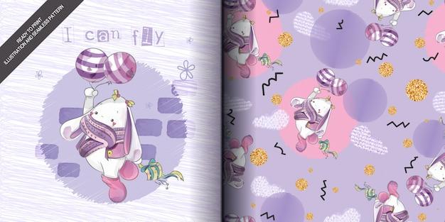 かわいい赤ちゃんバニー手はシームレスなパターンと甘い水彩風で描かれました。