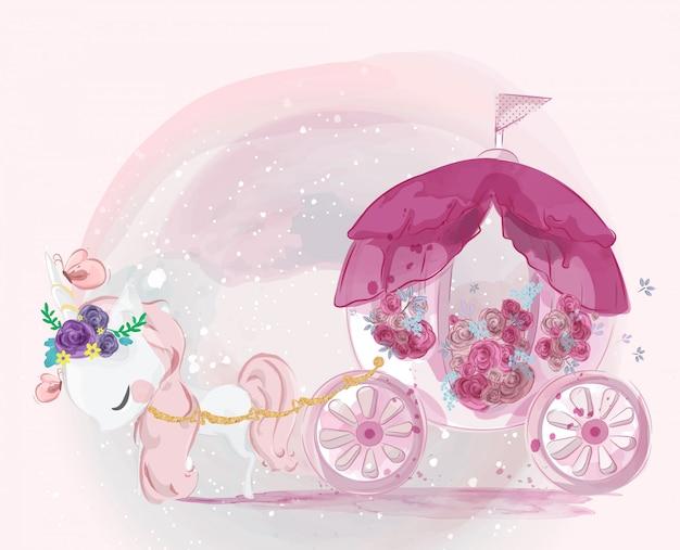 甘い水彩風で描かれたかわいい赤ちゃんユニコーン手。
