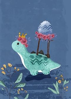 イラストスタイルで描かれたかわいい赤ちゃん恐竜手。