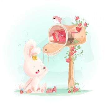 Милый маленький кролик с любовным почтовым ящиком, полным ностальгии