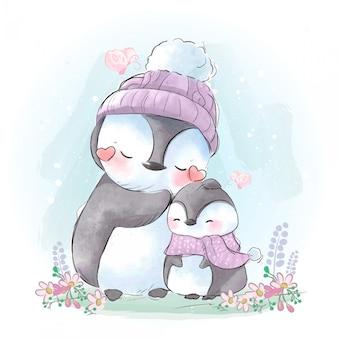 冬の寒さの中で接続されているペンギンの母と息子の図面。