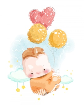 風船で空に浮かぶかわいいベビーシャワーカードを組み立てるための生まれたばかりの赤ちゃんの画像。