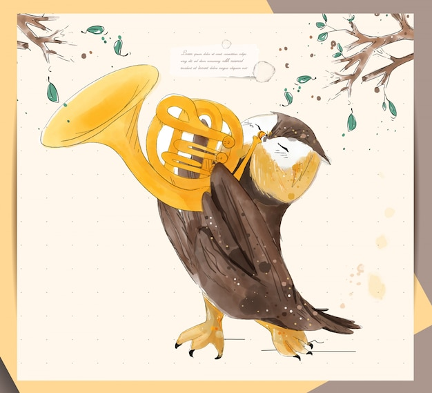 Ручная роспись акварель тропического милого животного сова на ветке с тропическими цветами и листьями