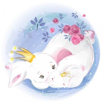 Ручная роспись акварель тропического милого животного кролика на ветке с тропическими цветами и листьями