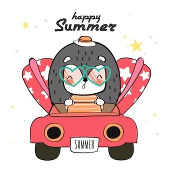 手描きの動物野生動物かわいいカラフルなジェスチャー帽子をかぶって夏の山嵐に満足、背中に赤いカメを運転、スーツケースを運ぶ、休日に行く準備をしています。