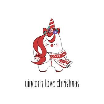 クリスマスのためにかわいいユニコーンを描く。