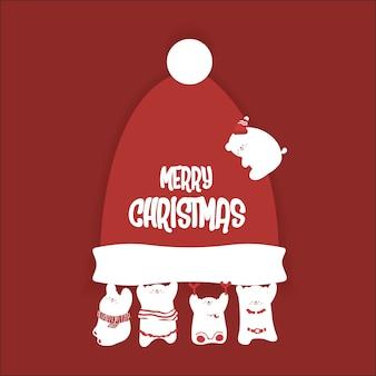 クリスマスのためにかわいい小さなクマを描く。