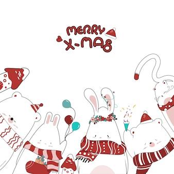 クリスマスのためにかわいい小さな動物を描く。