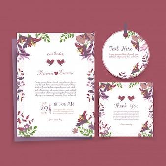 水彩の結婚式招待状のテンプレートカード。
