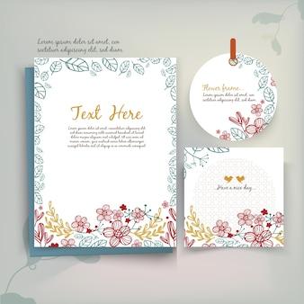 ヴィンテージ花挨拶カード水彩スタイル。