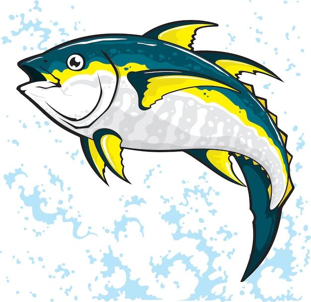 Дизайн векторной иллюстрации рыбы тунца