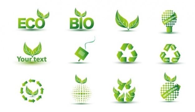 Свободный зеленый экологический набор иконок
