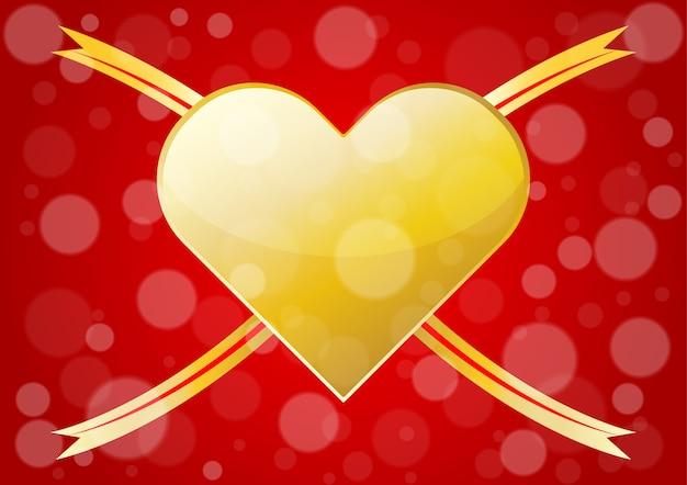 バレンタインデーの背景のための抽象的な金の心