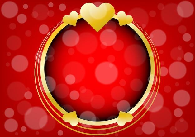 抽象的な金の心とバレンタインデーの背景の円