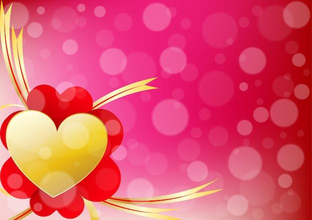心とリボンは、バレンタインデーの背景の左揃え