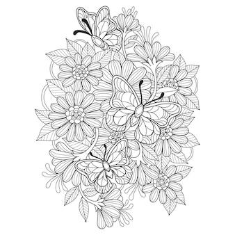 蝶の手描きのイラストは庭で飛ぶ
