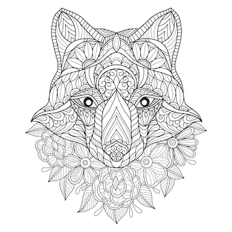 Рисованной иллюстрации волк и цветок.