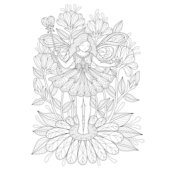 Рисованной иллюстрации ангела и цветок.