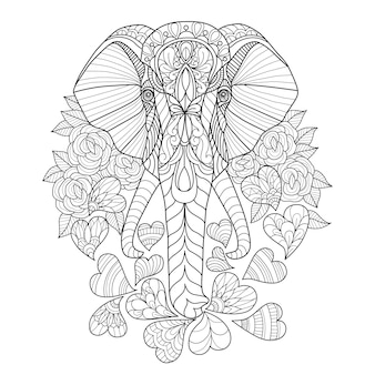 象と心の手描き
