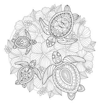 カメと花の手描きのイラスト