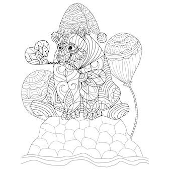 手描きのクマと風船