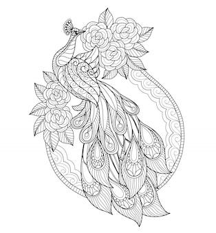 手描き孔雀と花