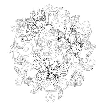 手描きの蝶と花