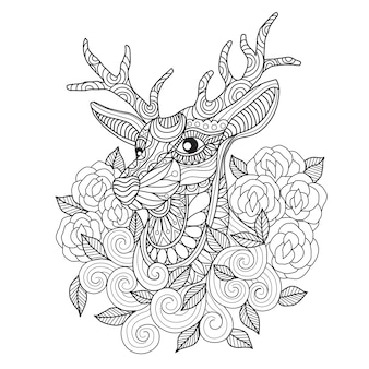 手描きの鹿とバラ