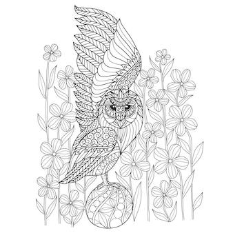 手描きフクロウと花