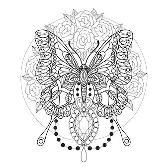 蝶とダイヤモンドの大人用着色ページ