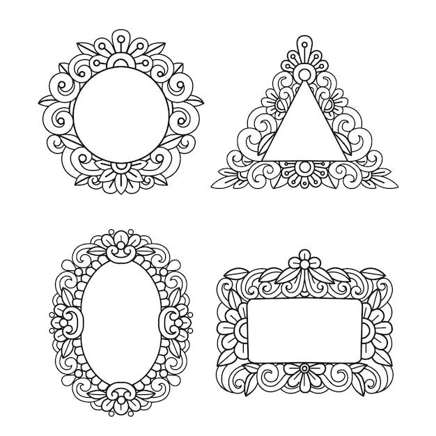 手描きのビンテージフラワーフレームセット