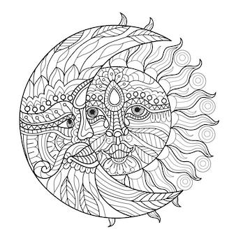 大人向けの太陽と月のぬりえ