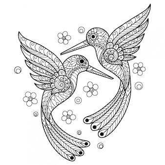 ハチドリ。大人の塗り絵の手描きスケッチ図