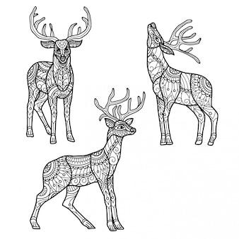 トナカイパターン。大人の塗り絵の手描きスケッチ図