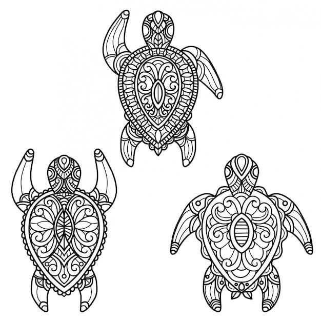 ウミガメのパターン。大人の塗り絵の手描きスケッチ図
