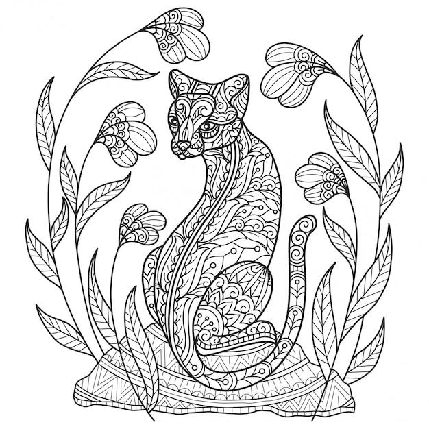 Красивая кошка. ручной обращается эскиз иллюстрации для взрослых книжка-раскраска