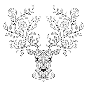 Олень и роза. нарисованная рукой иллюстрация эскиза для взрослой книжка-раскраски.