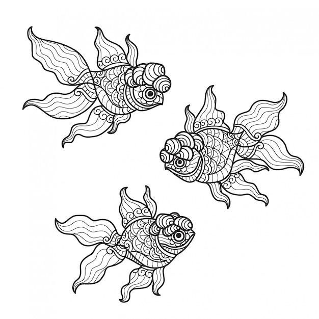 Образец рыбы. нарисованная рукой иллюстрация эскиза для взрослой книжка-раскраски.