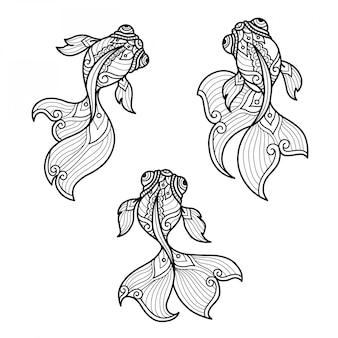 Золотые рыбки нарисованная рукой иллюстрация эскиза для взрослой книжка-раскраски.