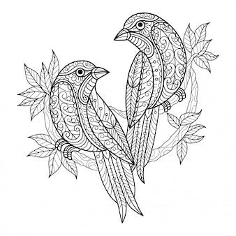 Две птицы. ручной обращается эскиз иллюстрации для взрослых книжка-раскраска