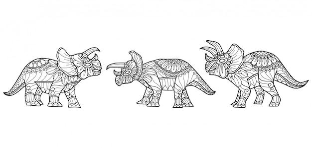 恐竜パターン。大人の塗り絵の手描きのスケッチ図