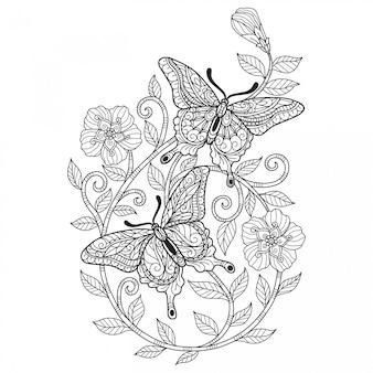 Две бабочки. ручной обращается эскиз иллюстрации для взрослых книжка-раскраска